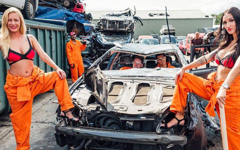 autos beuken kapot maken auto uitje